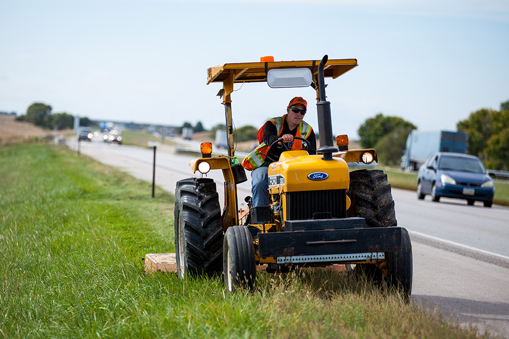 Mowing along the Interstate